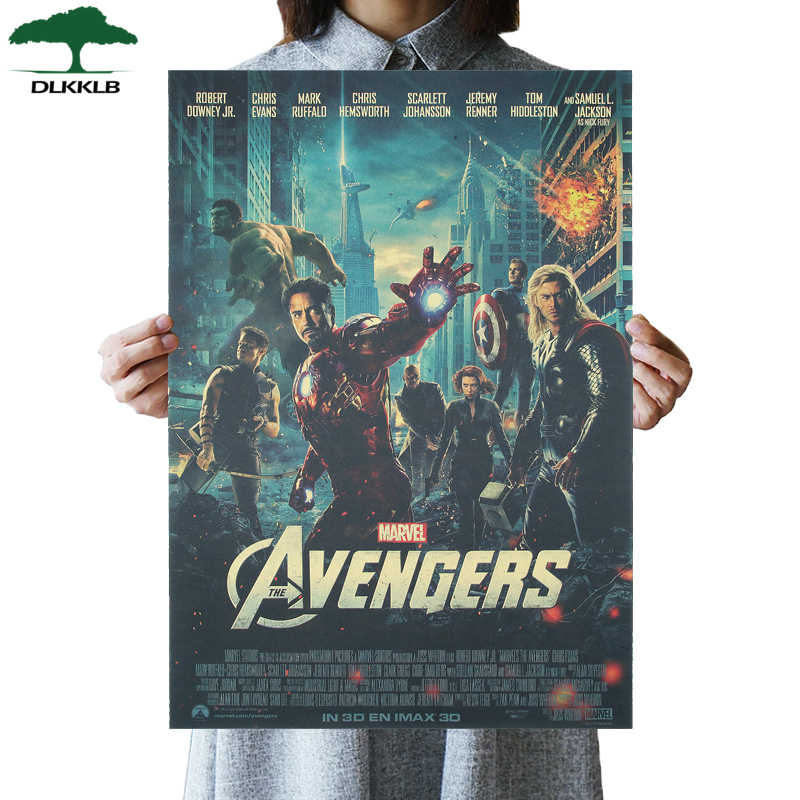 DLKKLB Marvel Vintage Avenger Movie Poster Kraft Paper Movie Poster Living Room Furniture Decor Painting Super Hero Wall Sticker