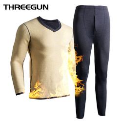 THREEGUN Winter Men Thermal Underwear Wool Thick Thermal Long Johns Couple Velvet Thermo Underwear Winter Clothes Men Keep Warm