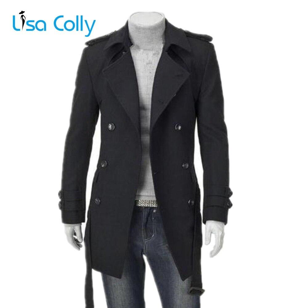Lisa Colly Novo casaco de Lã dos homens de Outono dos homens Homens do Revestimento de Trincheira Dupla Breasted Casaco De Lã Longo Casaco de Homem inverno quente Outercoat