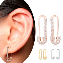 Slovecabin 2019 France Safety Pin Earring Clips 925 Sterling Silver Rose Gold Color Plain Women Wedding Punk & Rock Jewelry