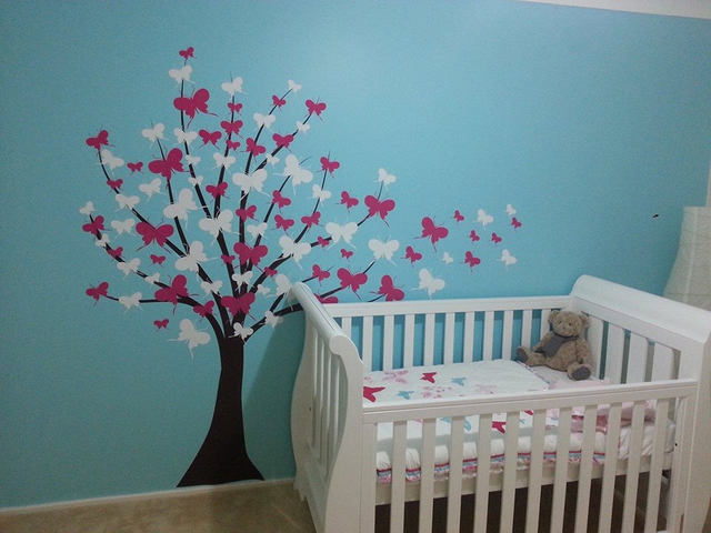 Large Tree Wall Decal Kids Girls Baby Nursery Home Decal Tree With  Butterfly Cherry Blossom Flowers Wall Art Vinyl Murals A151