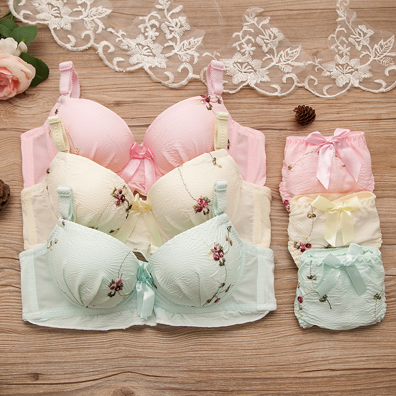 2019 Puberty Girls Teenage Girl Underwear Bra Set Girl Bra+Briefs Children Underwear Kids Clothing