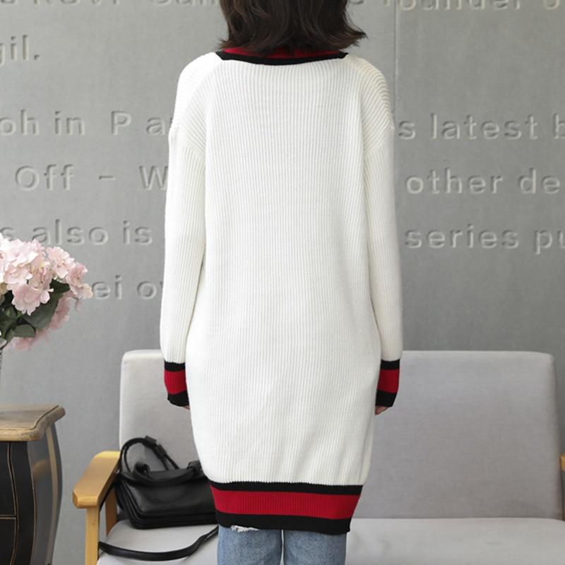 Spring New Wild Loose Long Knitwear Cardigan Women Sweater Coat Long Sleeve Patchwork Coat wz321