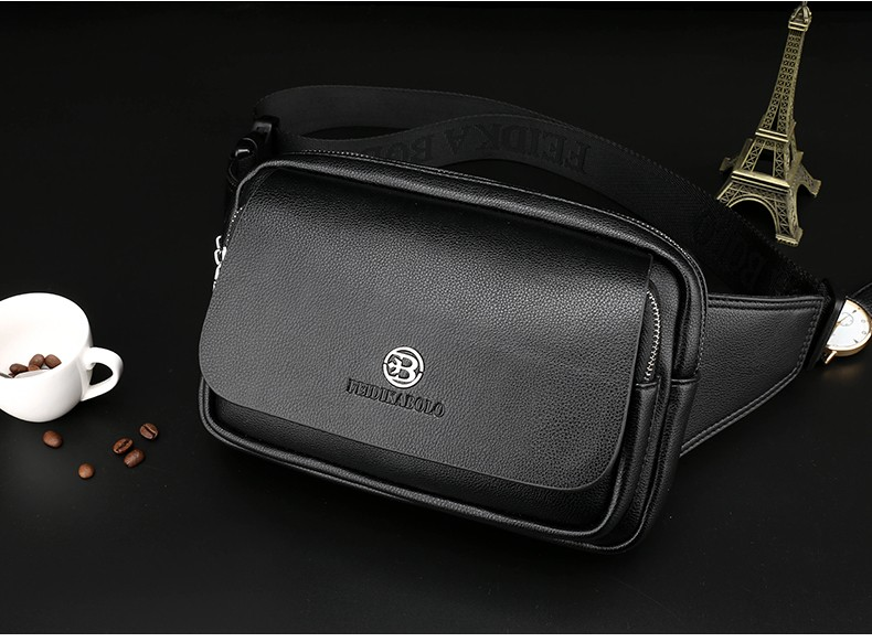 2016 Men Travel Bags Mens Leather Belt Bag Waist Pack Men Waist Bag Fanny Pack Leather Waist Pochetes Homem Bolso Cintura (25)