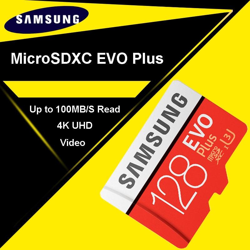 SAMSUNG Micro carte SD 128 GB carte mémoire EVO Plus 128 GB Class10 TF carte C10 microsd UHS-I U3 livraison gratuite cartao de memoria