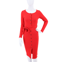 고함 ROLAN 2018 봄 패션 여성 벨트 얇은 드레스 긴 소매 니트 스웨터 드레스 버튼 맥시 긴 슬림 맞는 파티 Vestidos