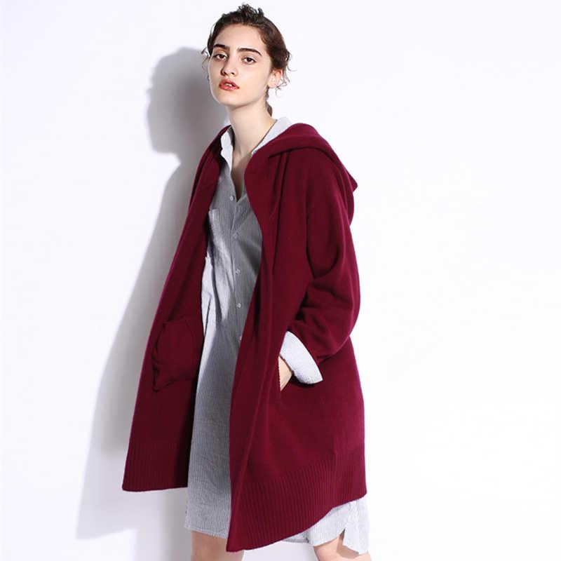 Новая мода 2018 осень-зима серый черный кардиган для женщин с капюшоном свитер Повседневный Плюс размер для женщин пальто длинные свитера