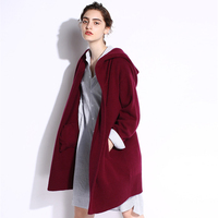 New Fashion 2018 Autumn Winter Gray Black Cardigan For Women with Hooded Sweater Casual Plus Size For Women Coats Long Sweaters