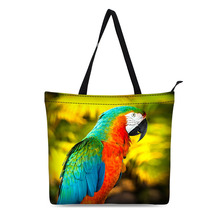 Canvas Shopping Bag Personalized Tote Bags Shoulder Digital Animal Parrot Design Black Grocery Cotton Handbag