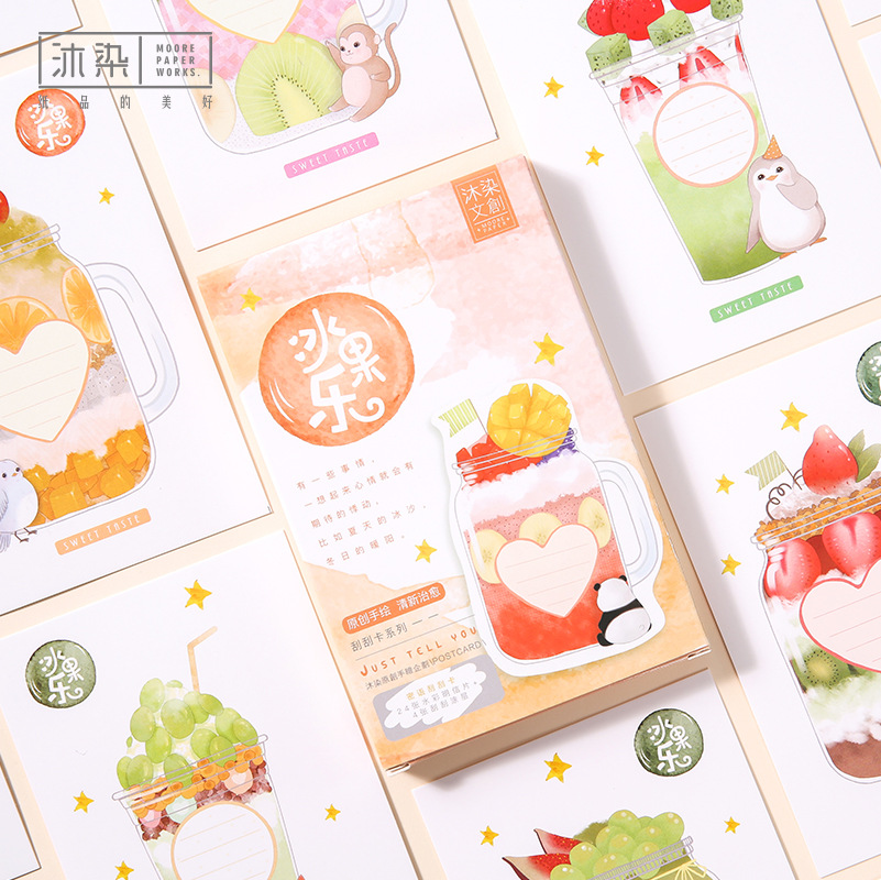3 set/1 lot Cartoon paper Drink Greeting Card Postcards Birthday Bussiness Gift Card Set Message Card