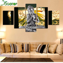 YOGOTOP DIY Diamond Painting Cross Stitch Square Mosaic Needlework Crafts Full Embroidery Buddha 5pcs/set VS442