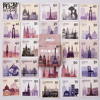 45 sztuk partia Vintage Stamp dekoracyjna naklejka na pamiętnik Album Scrapbook naklejki diy ozdobne statki tanie i dobre opinie Gimue Papier GM86310 3 lata 44*44*11mm