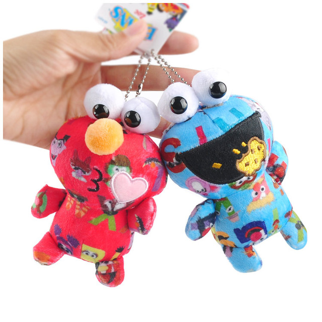 d8061585a48862 New 13cm Sesame Street Plush Toys Cookie Monster Soft Elmo Pendant Red  Animal Stuffed Toys Keychain Gifts For Kids
