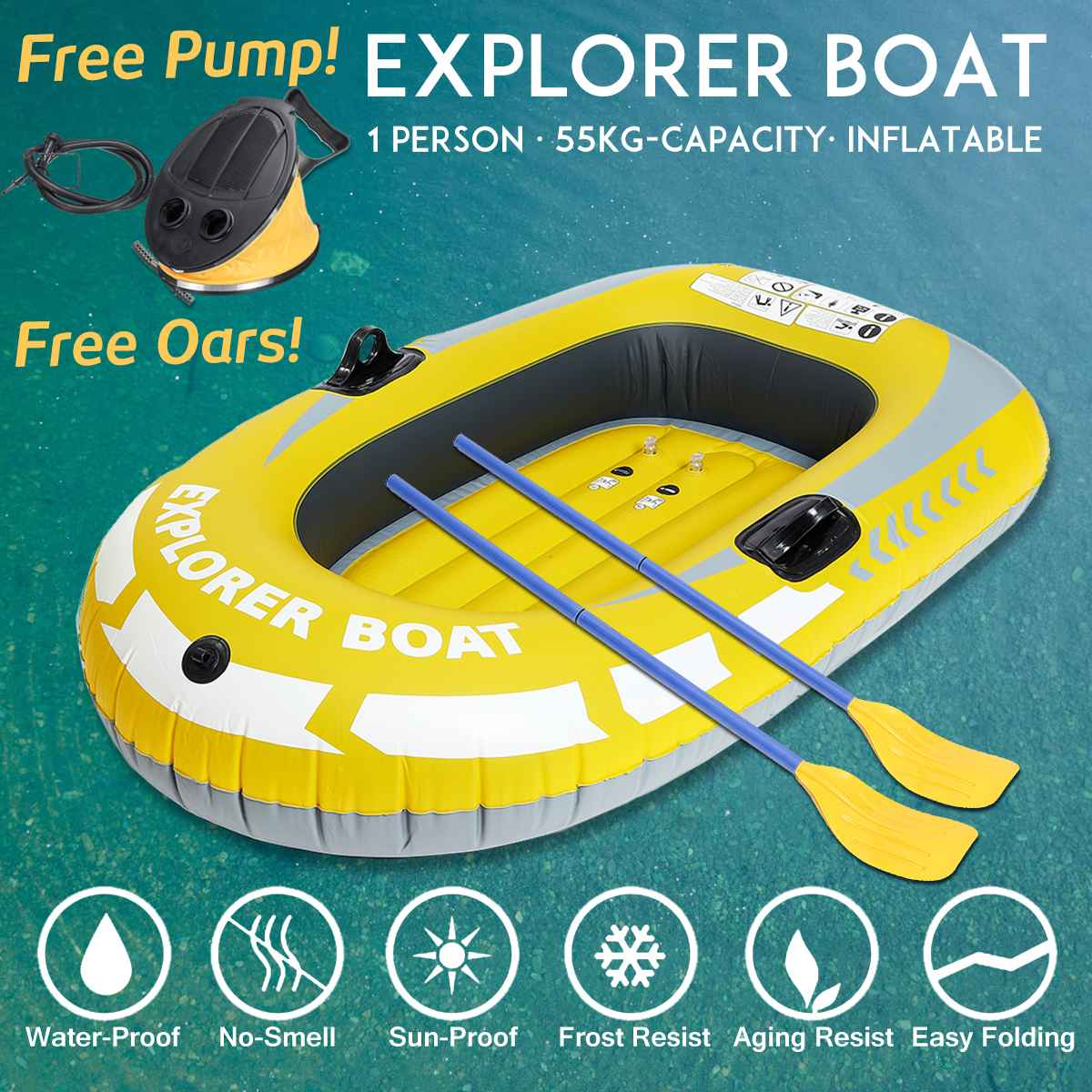 1//2 Person Inflatable PVC Boat Raft Waterproof Canoe Kayak Double Value Dinghy