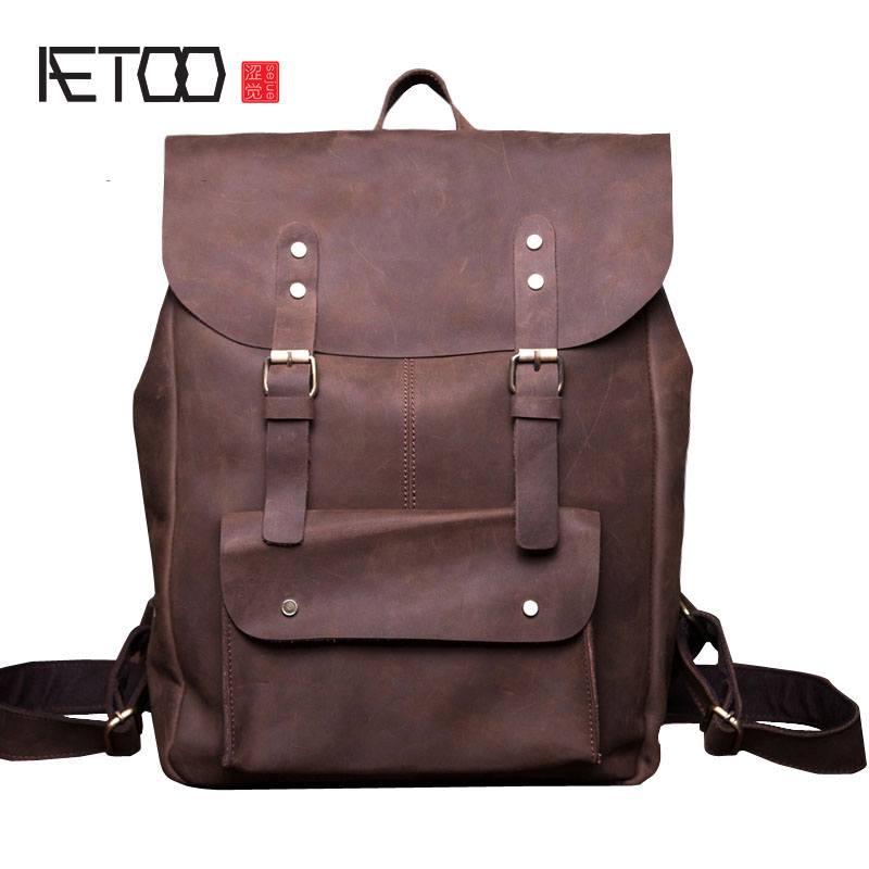 AETOO Leather men bag wholesale Europe and the United States retro backpack men and Europe trend bag mad horse leather backpack aetoo europe and the united states fashion new men s leather briefcase casual business mad horse leather handbags shoulder
