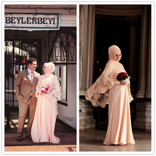 MZYW0355 full long sleeve high neck with hijab lace shawl abiti da sposa long sleeve muslim wedding dress 2016