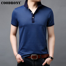 COODRONY Striped Short Sleeve T Shirt Men Cotton Tshirt Business Casual T-Shirt Clothing Spring Summer Mens T-Shirts S95054