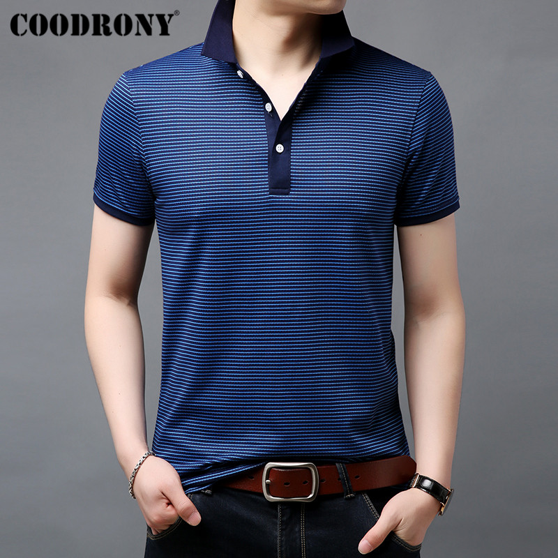 COODRONY Striped Short Sleeve   T     Shirt   Men Cotton Tshirt Business Casual   T  -  Shirt   Men Clothing Spring Summer Men's   T  -  Shirts   S95054