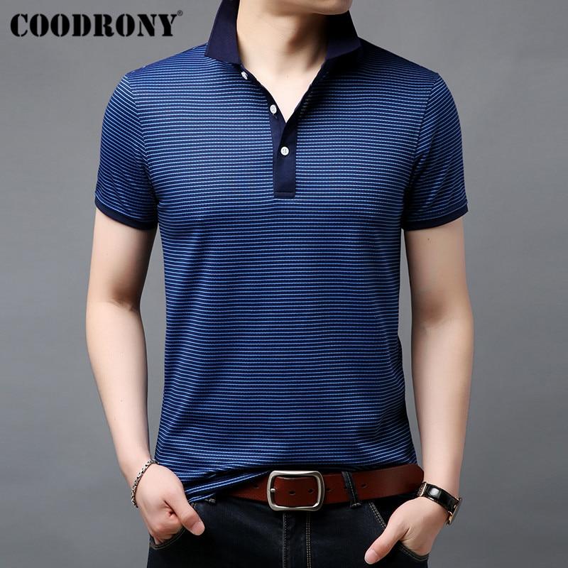 COODRONY Striped Short Sleeve   T     Shirt   Men Cotton Tshirt Business Casual   T  -  Shirt   Men Clothing Spring Summer Men's   T  -  Shirts   S95054