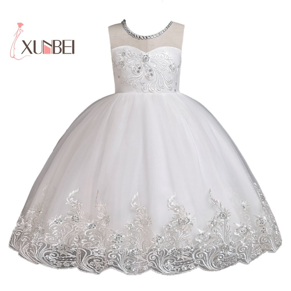 Knee Length White   Flower     Girl     Dresses   2018 Sequined Applique   Girls   Pageant   Dresses   First Communion   Dresses   Party   Dresses