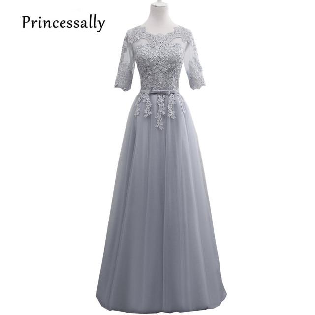45adc1fa0be Vestido De Festa New Grey Lace Bridesmaid Dresses Long Illusion Half Lace  Sleeve Appliques Cheap Elegant Gown Vestido De Noiva