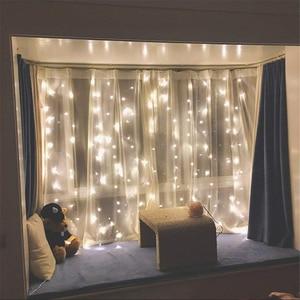 Image 3 - Rideau lumineux de noël, lampe à LED, guirlande lumineuse de 3M * 1M 6M * 3M, décoration intérieure, pour chambre à coucher, fête, mariage, vacances