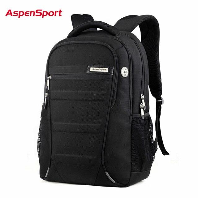 AspenSport ノートパソコンのバックパック男性 15 17 インチコンピュータスクールバッグボーイ旅行防水盗難防止ノートブック黒