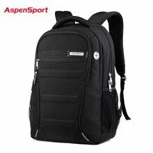 AspenSport dizüstü sırt çantaları erkek 15 17 inç bilgisayar okul çantaları erkek seyahat su geçirmez anti hırsızlık dizüstü siyah