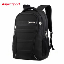 AspenSport Laptop Backpacks Men for 15-17 inch Computer School Bags Boy Travel Waterproof Anti-theft Notebook Black