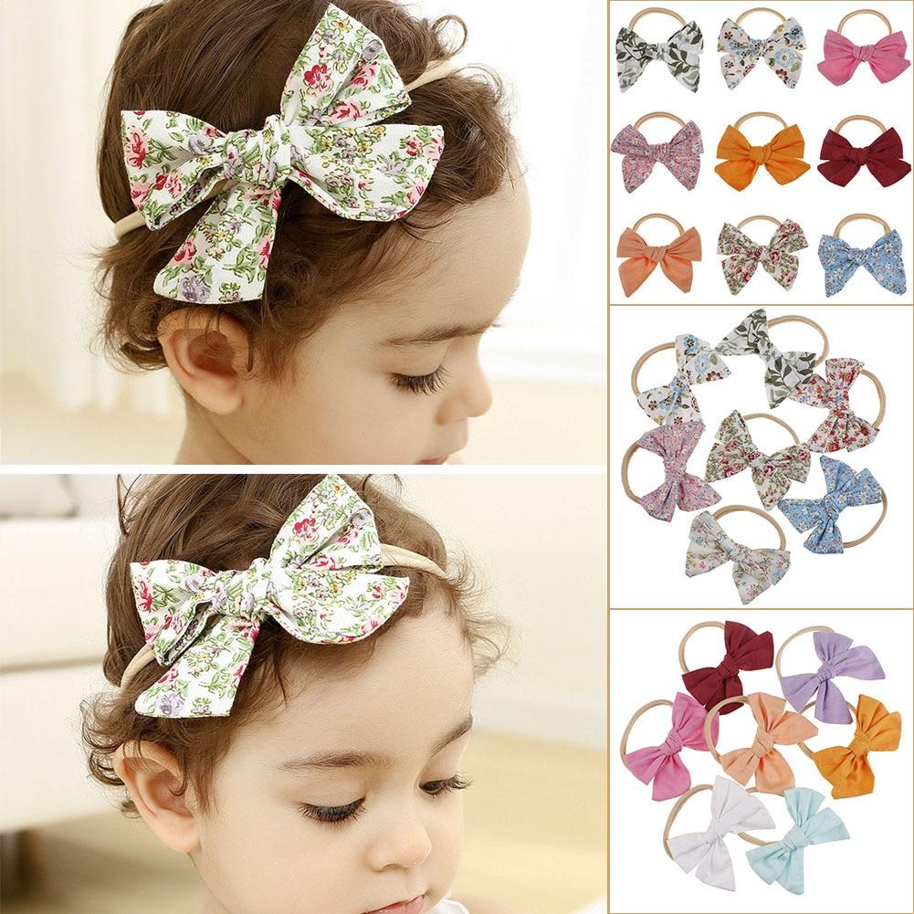 Baby Rabbit Ears Girl Floral Headband Head Wrap Turban Bow Knot Hairband