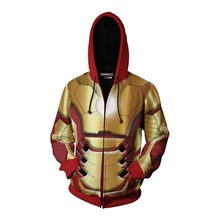 3D Print Movie Avengers Endgame Iron Man Tony Stark Sweatshirt Hoodie Cosplay Costume Jacket Coat New