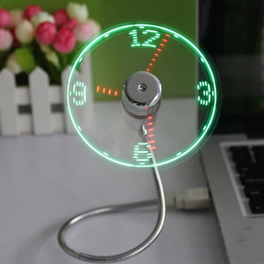 1 pc USB Mini Flexible Time LED Clock Fan with LED Light-Gadget Keep time display