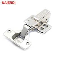 NAIERDI Hinge Rustless Iron Hydraulic Hinge Iron Core Damper Buffer Cabinet Cupboard Door Hinges Soft Close Furniture Hardware