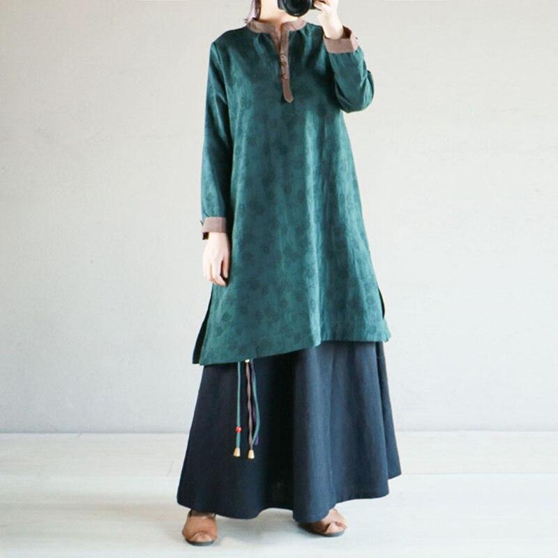 Montant shirts Nouvelle Johnature Mode Vintage Patchwork Jacquard T Printemps Dark En 2019 Long Femmes Green Lâche Coton Col Lin m8OwyPv0Nn