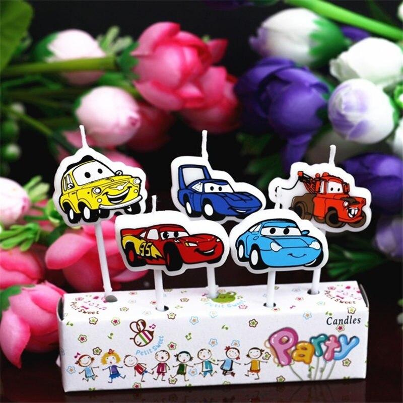 5 шт./компл. мультфильм автомобиль новый творческий мультфильм на день рождения свечи праздничные вечерние украшения торта поставки автомо...