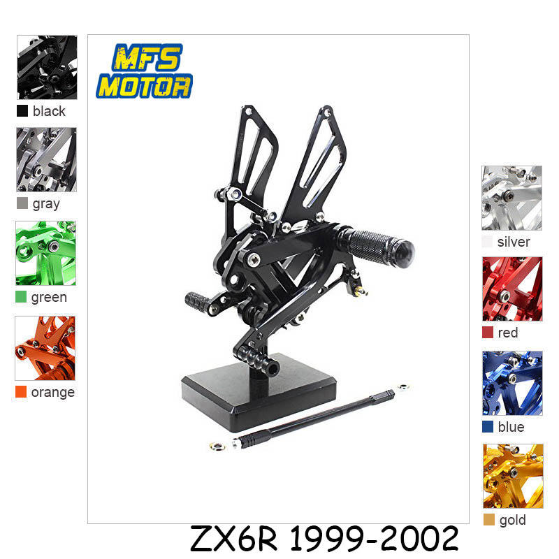 For Kawasaki Ninja ZX6R ZX636 ZX9R ZZR600 CNC Adjustable Rearset Foot Rest Foot Pegs ZX 6R 636 9R ZZR 600 Foot Rests no cut frame slider for kawasaki ninja zx 6r zx 9r zx 12r zx6r zx9r zx12r zx 6r 9r 12r crash falling protection motorcycle parts