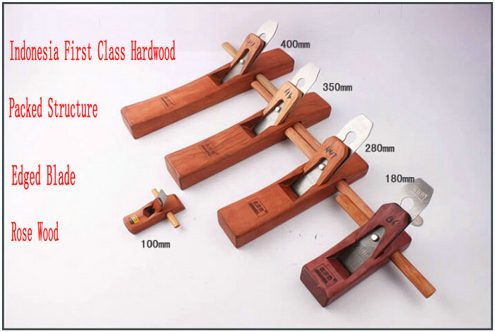 5 PC / LOT Woodworking Rose Wood Plane más suave con la cuchilla afilada