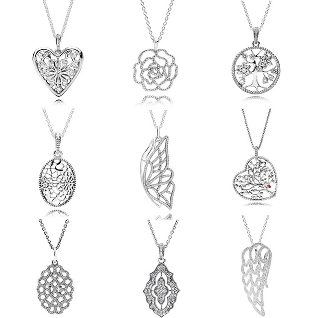 05bdf9198 Shimmering Rose Family Tree Floral Daisy Lace Angel Wing Necklace For Women  Gift Europe Jewelry 925 Sterling Silver Necklace
