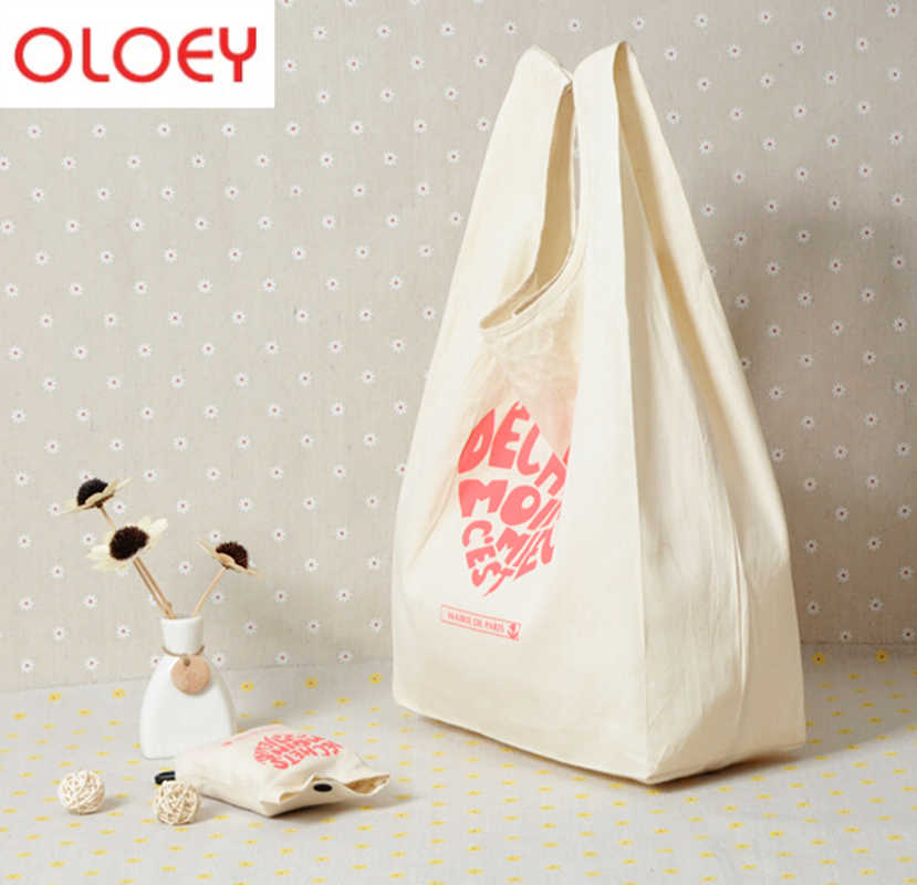 ECO Tote Shopping Canvas bag Folding Package High-Quality Women Men Reusable rocery High capacity Fold Cotton Shopping Bag