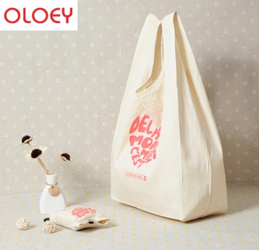 ECO Tote Shopping Canvas Bag Folding Package High-Quality Women Men Reusable Rocery High Capacity Fold Cotton Shopping Bag