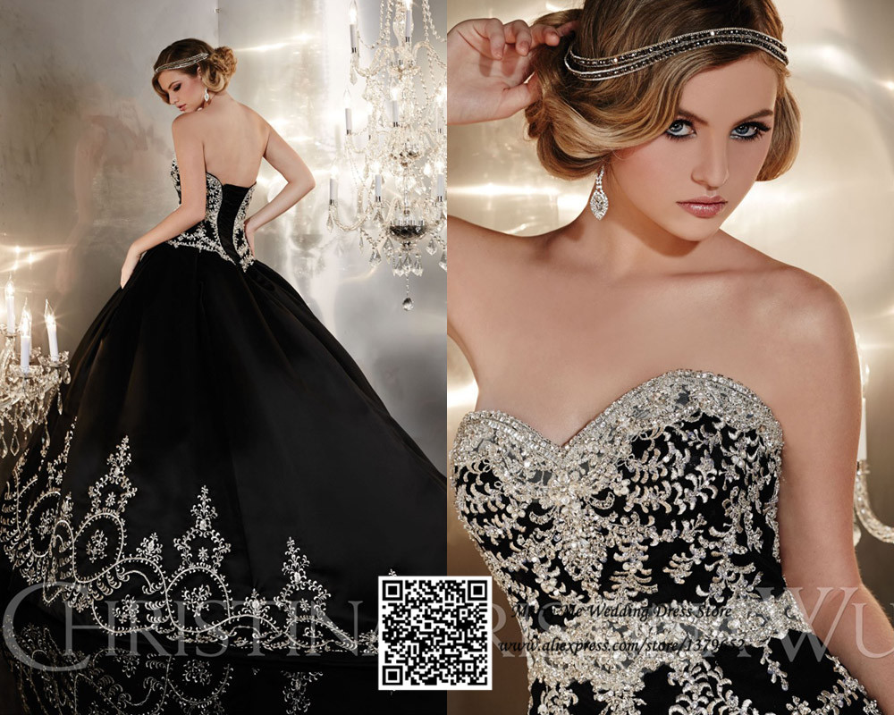Lace Ball Gown Wedding Dresses: New Design Black Sweetheart Lace Up Crystal Embroidery