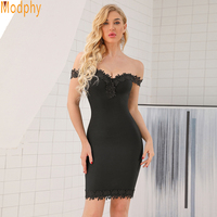 Top Quality 2018 Winter dress Sexy Women Bandage Dress Apricot Gray Off Shoulder Lace Celebrity Club Evening Party Dress HL596