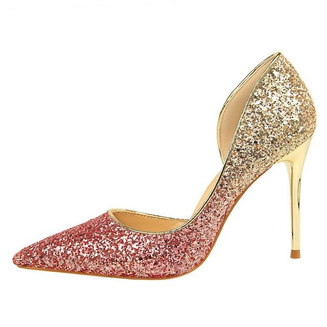 2019 Woman 9cm Glitter High Heels Sequins Scarpins Pumps Female Silver Gold Escarpins Lady Party Wedding Scarpins Talons Shoes