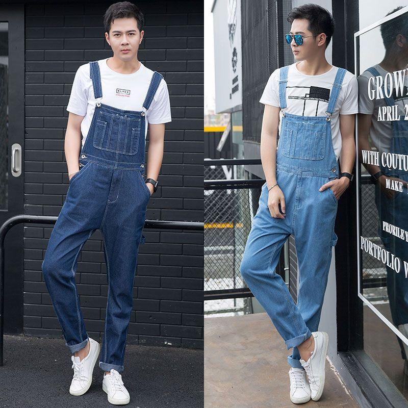 e9625cb0ba0 Men plus size denim overalls Large size huge Baggy cargo jeans Fashion  pocket jumpsuits for Male