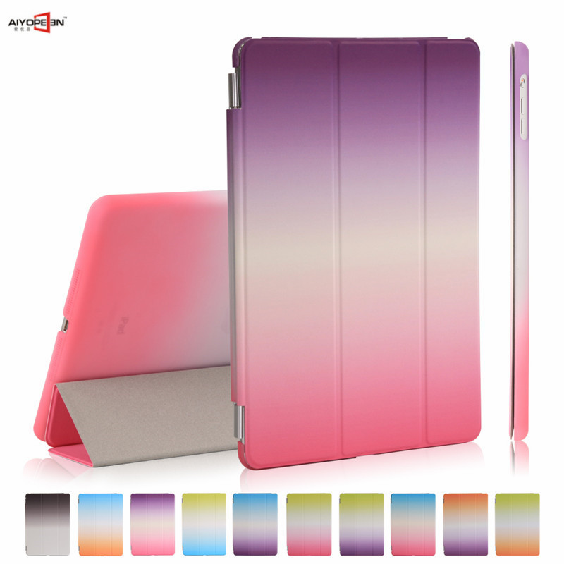 for iPad Air 1 case smart wake up sleep rainbow gradient with pc back cover for ipad 5 3-fold PU Leather magnetic flip stand ctrinews flip case for ipad air 2 smart stand pu leather case for ipad air 2 tablet protective case wake up sleep cover coque