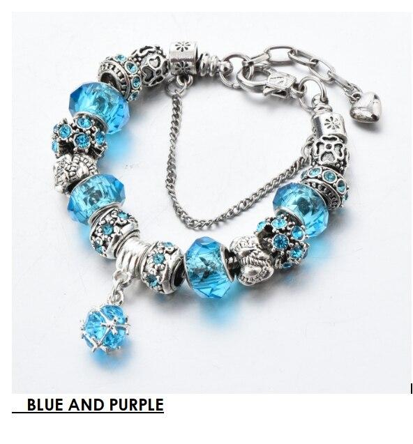 LongWay European Style Authentic Tibetan Silver Blue Crystal Charm Bracelet for Women SBR150271BU/SBR150271PL