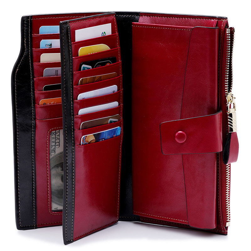 Fashion Women Wallets Genuine Leather Female Cell Phone Pocket Long Wallet Women Purse Wallet With Card Holder Retro Money Bag