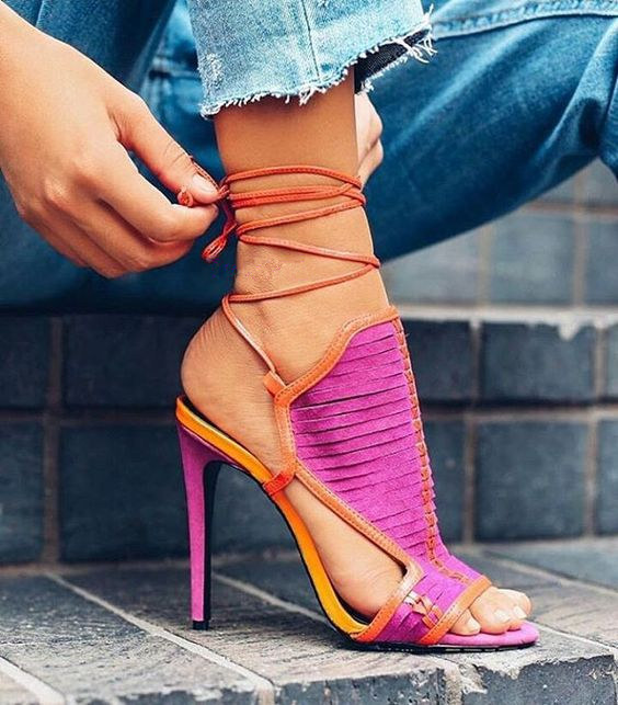 Sestito 2018 The Latest Girls Mixed Color Lace-up Ankle Strap Sandals Woman Peep Toe High Heels Slingback Shoes Lady Dress Shoes lace up cross strap lady rhinestone sandals suede woman thin heels crystal embellished lady sandals party dress high heels shoes