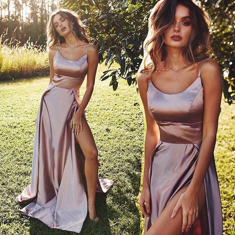 2019 Long   Prom     Dresses   Elegant A line Scoop Neck Sleeveless High Split Celebrity Party Gown vestidos de gala