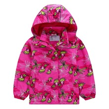 Waterproof Fitted Waist Baby Girls Jackets Warm Child Coat Polar Fleece Children Outerwear Animal Birds Print 3-12 Years Old цены